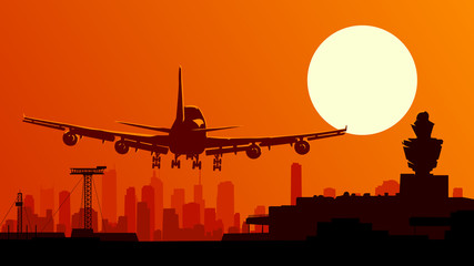 Vector illustration of airport with flying plane.