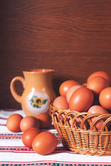 Eggs in a woven basket