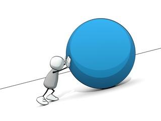 little sketchy man as sisyphus rolling a big blue ball