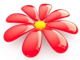 Isolated flower, 3D
