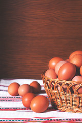 Eggs from a farm in a basket
