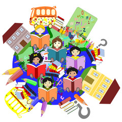 Happy children of different races reading books, our planet for