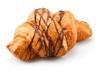 Fresh croissant with chocolate isolated on white background