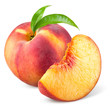 canvas print picture - Peach with slice and leaves isolated on white