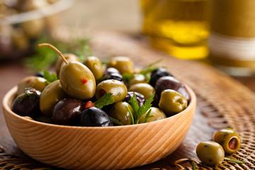Marinated olives.