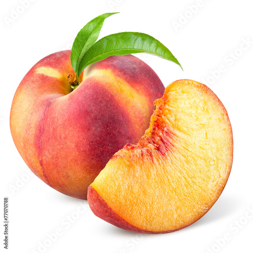 Foto op Canvas Vruchten Peach with slice and leaves isolated on white