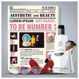 Aesthetic And Beauty Newspaper Lay Out With Cosmetic poster