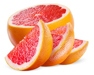 Grapefruit. Half and slices isolated on white background