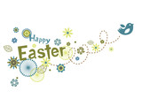 Easter greeting card with cute little bird