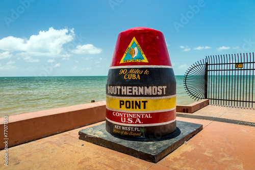 Leinwandbild Motiv The Key West, Florida Buoy sign marking the southernmost point o