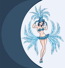 smiling cabaret ot burlesque dancer posing