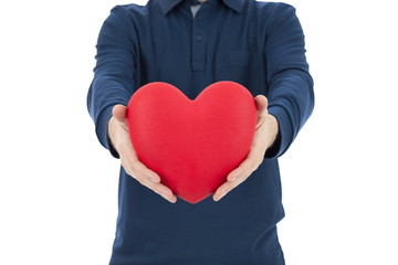 Man showing a red heart