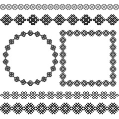 Set of popular ethnic round and square frames and dividers