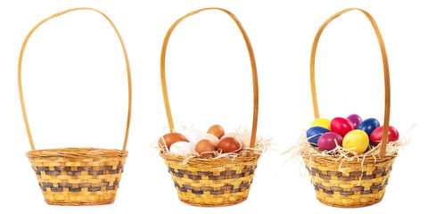 Basket  with and without Easter eggs