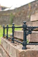 Black iron floral curved fence. Graveyard of Stirling castle
