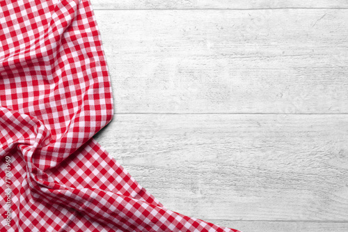 Foto op Canvas Stof checkered fabric red
