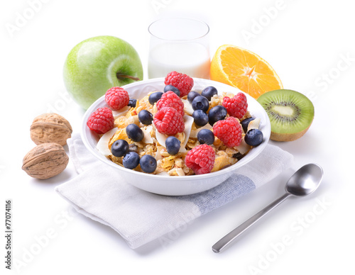 Foto op Canvas Buffet, Bar Breakfast with muesli and fruit