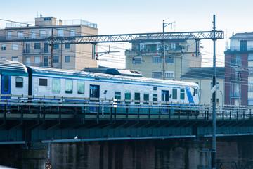 Treno, ponte ferroviario, rotaie, metro