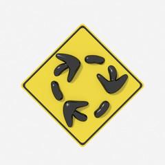 Segnale stradale USA 3D con indicazione rotatoria