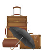 set icons travel bags vector illustration