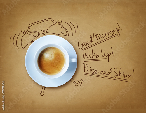 Deurstickers Koffie Good morning coffee