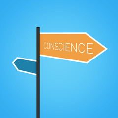 Conscience nearby, orange road sign