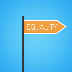 Equality nearby, flat orange road sign