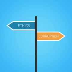 Ethics vs corruption choice road sign