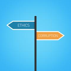 Ethics vs corruption choice road sign