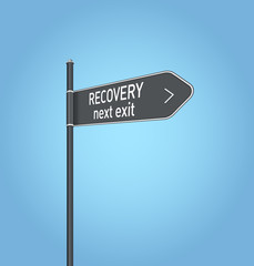 Recovery next exit, dark grey road sign
