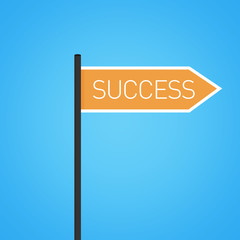 Success nearby, flat orange road sign