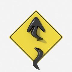 Segnale stradale USA  con indicazione curve pericolose