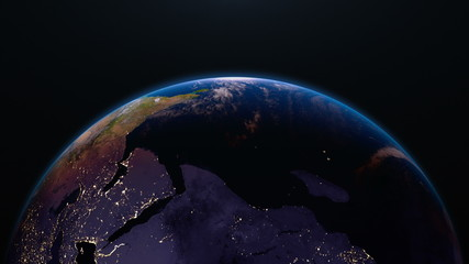 Earth from space with city lights. Africa & Middle East. 4K.