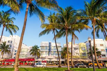 Miami Beach, Florida hotels and restaurants at twilight on Ocean