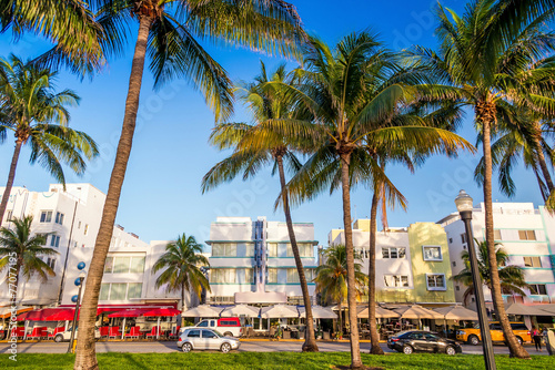 Miami Beach, Florida hotels and restaurants at twilight on Ocean Poster