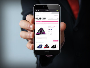 businessman with shop online smartphone
