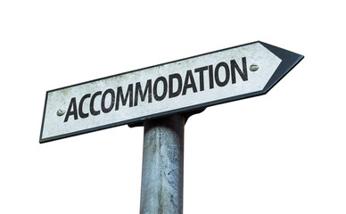 Accommodation sign isolated on white background