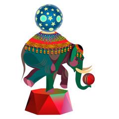 Circus elephant with balls