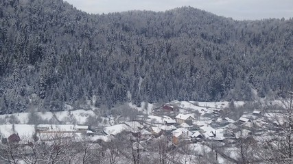 Small romanian village in winter