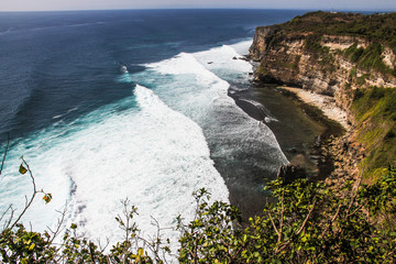 View of Big Ocean Waves and Cliff-Bali, Indonesia