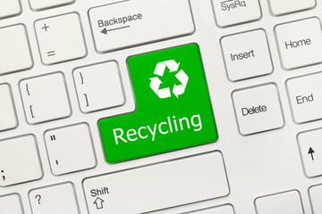 White conceptual keyboard - Recycling (green key)