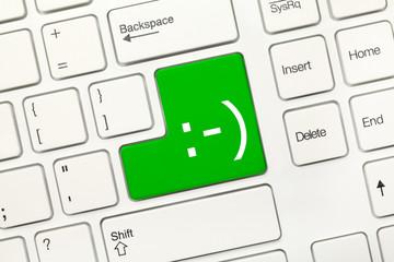 White conceptual keyboard - Smiley (green key)
