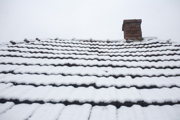 The roof is covered with snow