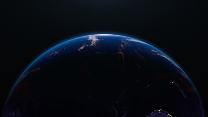 Earth view from space, night city lights. Oceania & Asia. 4K.