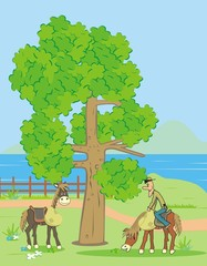 tree, landscape and horse