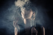 jazz singer woman with cigar and microphone - 77080785