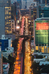 Bangkok downtown traffic during busy hours