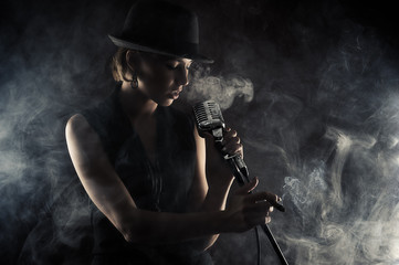 jazz singer woman with retro microphone