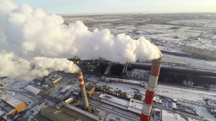 Coal-Burning Power Plant. Aerial.
