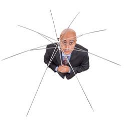 Businessman with umbrella frame